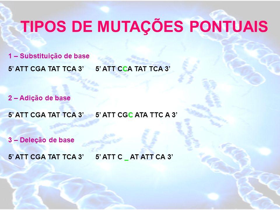 TIPOS DE MUTAÇÕES PONTUAIS