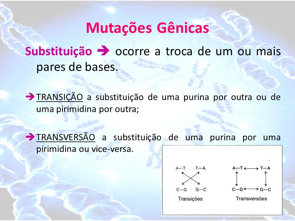Mutações Gênicas Substituição  ocorre a troca de um ou mais pares de bases.