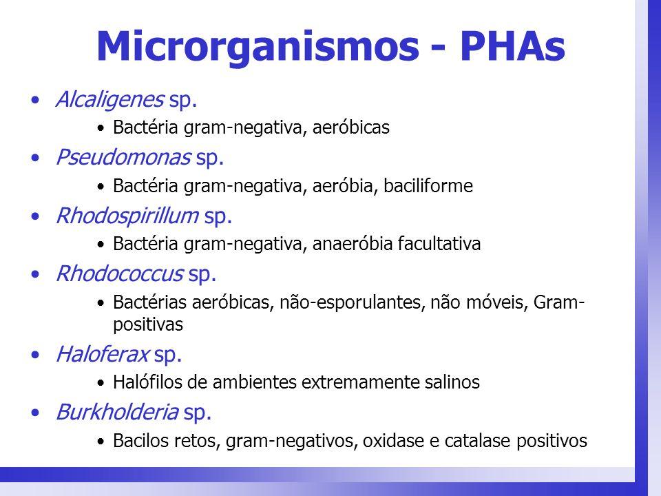 Microrganismos - PHAs Alcaligenes sp. Pseudomonas sp.