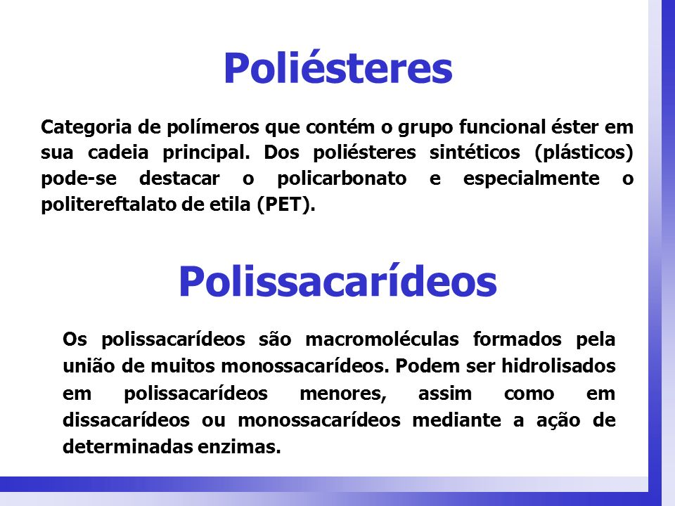 Poliésteres Polissacarídeos