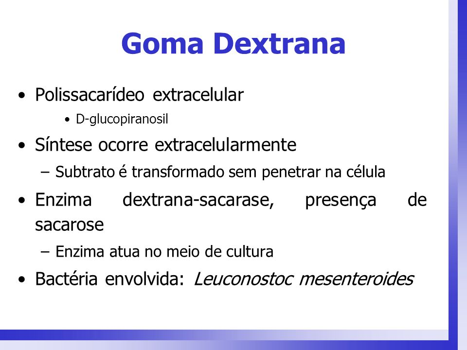 Goma Dextrana Polissacarídeo extracelular
