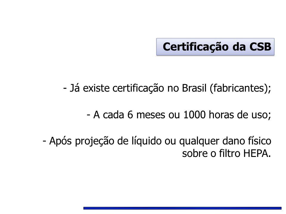 Certificação da CSB - Já existe certificação no Brasil (fabricantes);
