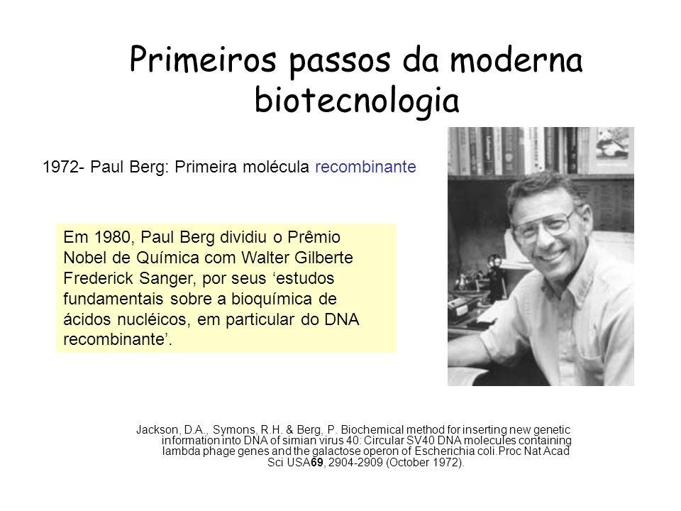 Primeiros passos da moderna biotecnologia