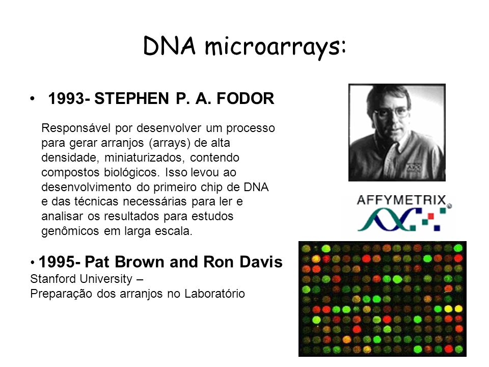 DNA microarrays: 1993- STEPHEN P. A. FODOR