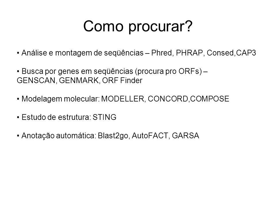 Como procurar • Análise e montagem de seqüências – Phred, PHRAP, Consed,CAP3. • Busca por genes em seqüências (procura pro ORFs) –