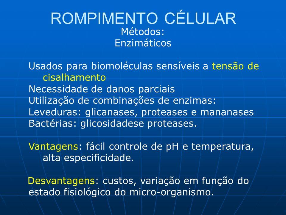 ROMPIMENTO CÉLULAR Métodos: Enzimáticos