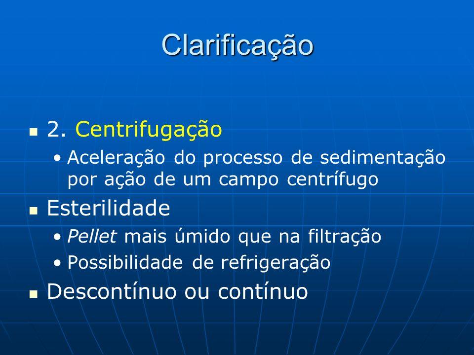 Clarificação 2. Centrifugação Esterilidade Descontínuo ou contínuo