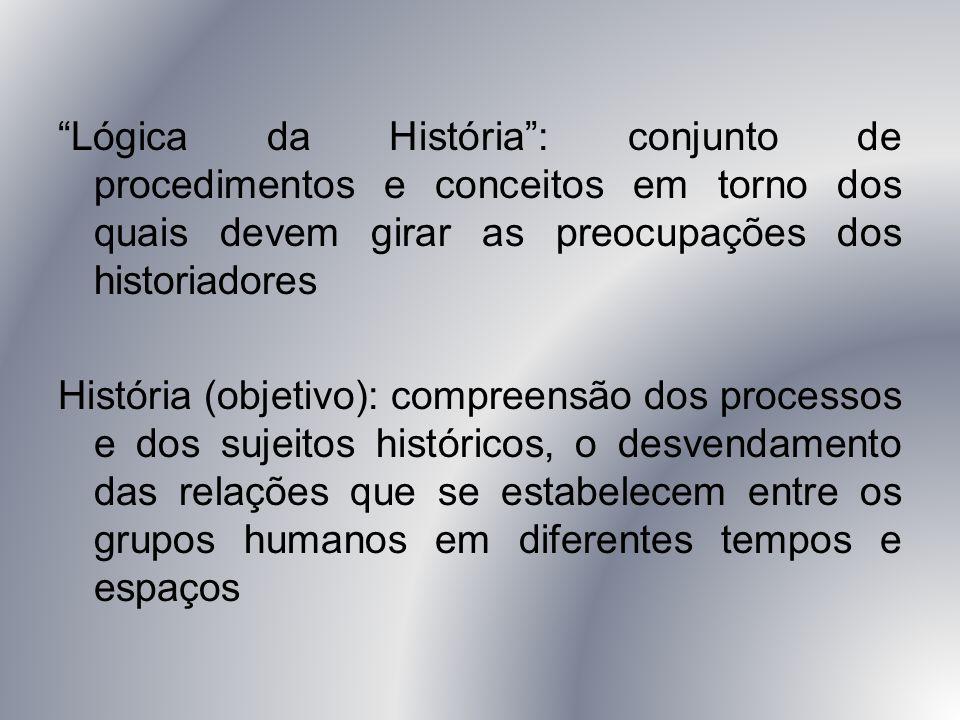 Lógica da História : conjunto de procedimentos e conceitos em torno dos quais devem girar as preocupações dos historiadores História (objetivo): compreensão dos processos e dos sujeitos históricos, o desvendamento das relações que se estabelecem entre os grupos humanos em diferentes tempos e espaços