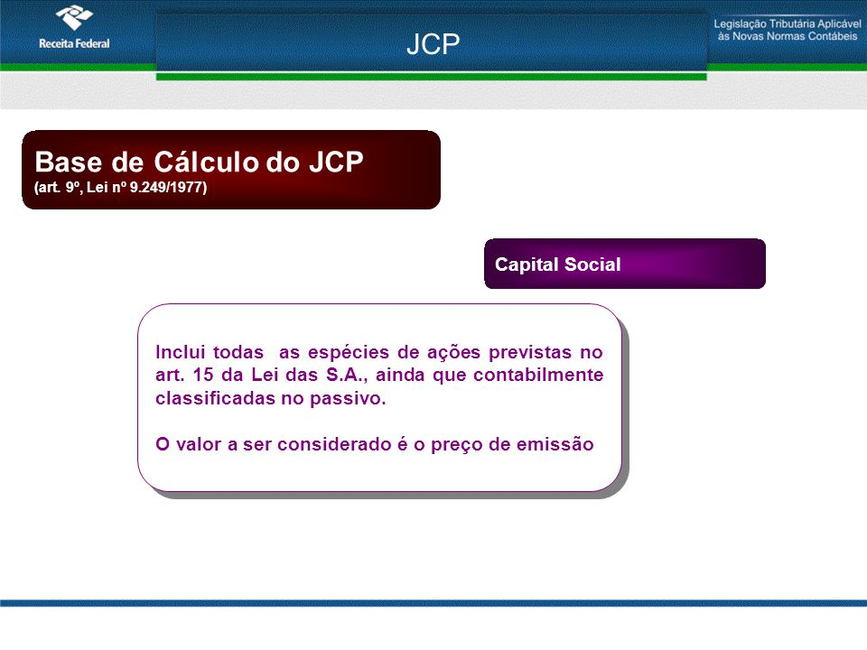 JCP Base de Cálculo do JCP Capital Social