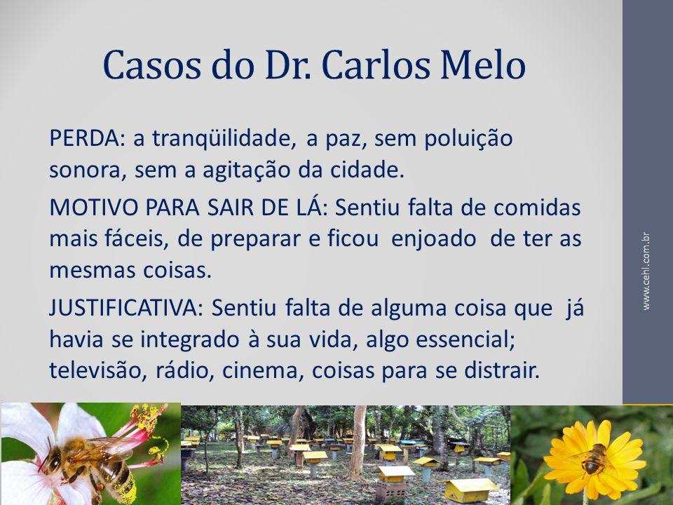 Casos do Dr. Carlos Melo PERDA: a tranqüilidade, a paz, sem poluição sonora, sem a agitação da cidade.