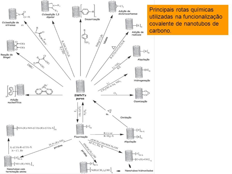 Principais rotas químicas utilizadas na funcionalização covalente de nanotubos de carbono.