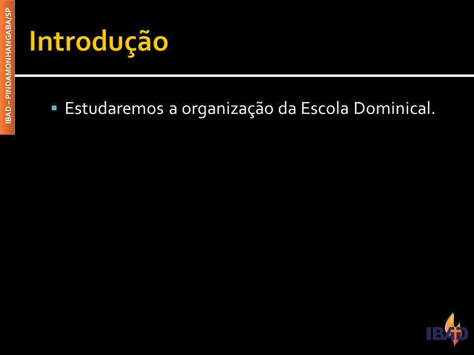 Introdução Estudaremos a organização da Escola Dominical.