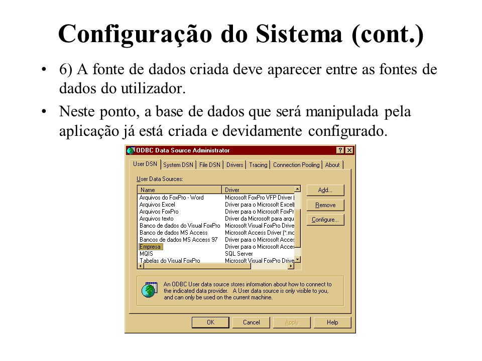 Configuração do Sistema (cont.)