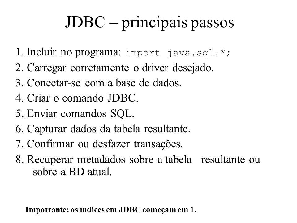 JDBC – principais passos