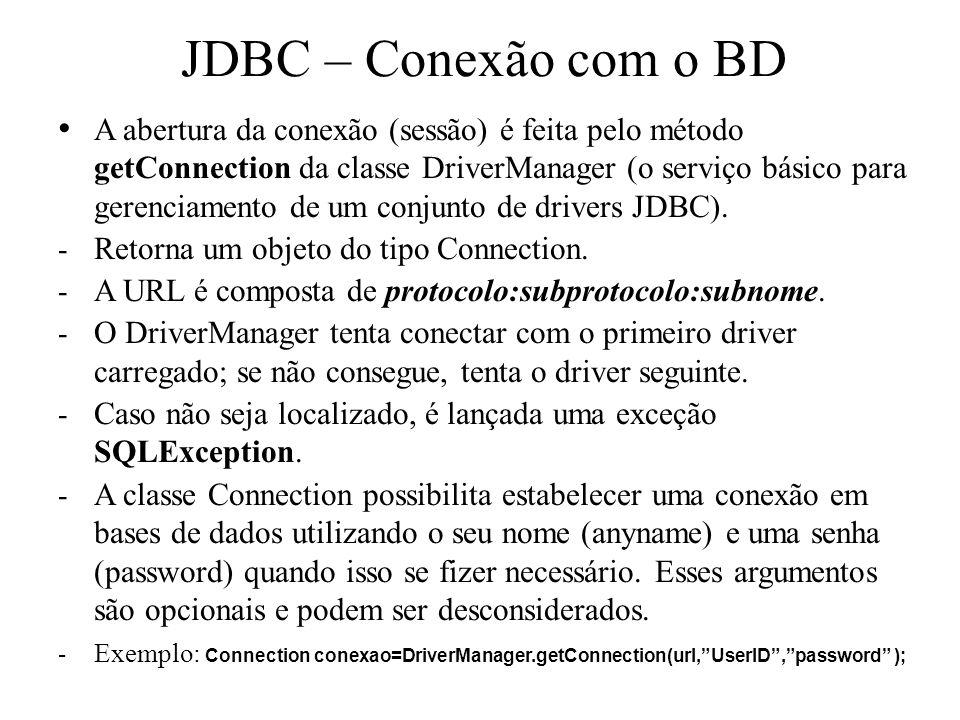 JDBC – Conexão com o BD