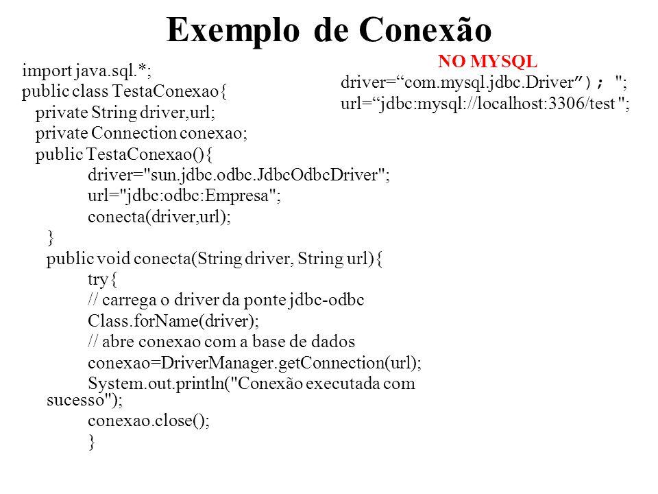 Exemplo de Conexão NO MYSQL import java.sql.*;