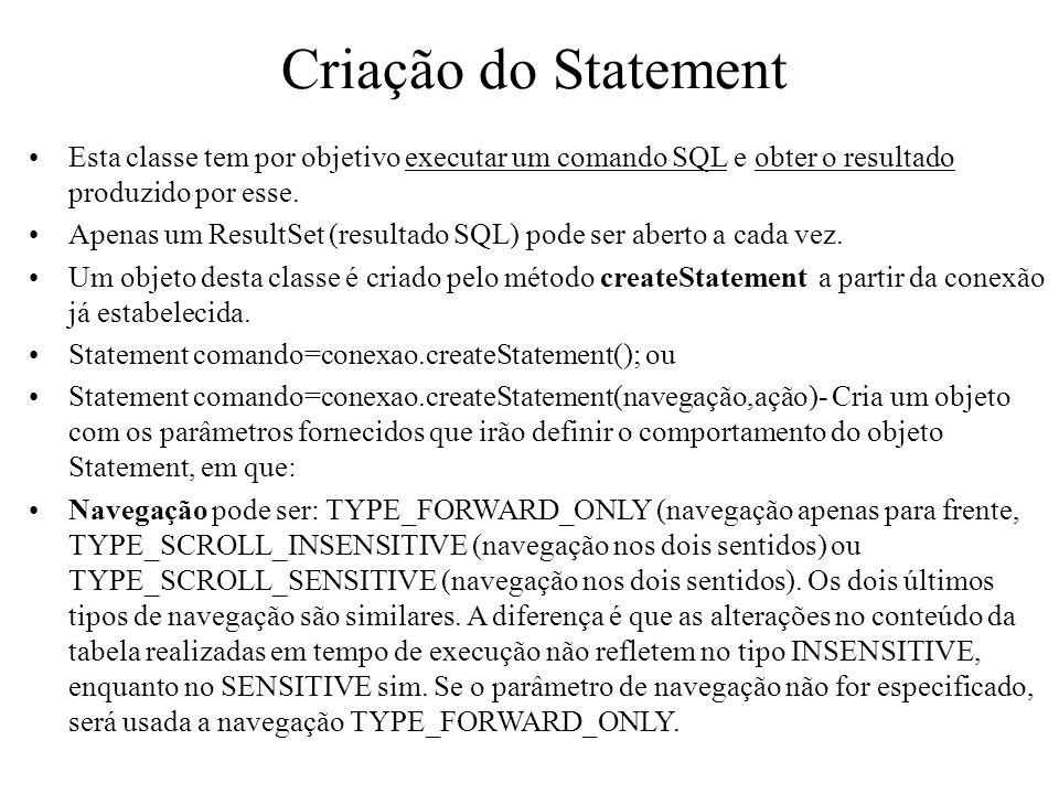 Criação do Statement Esta classe tem por objetivo executar um comando SQL e obter o resultado produzido por esse.