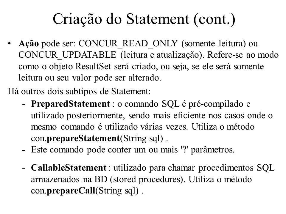 Criação do Statement (cont.)