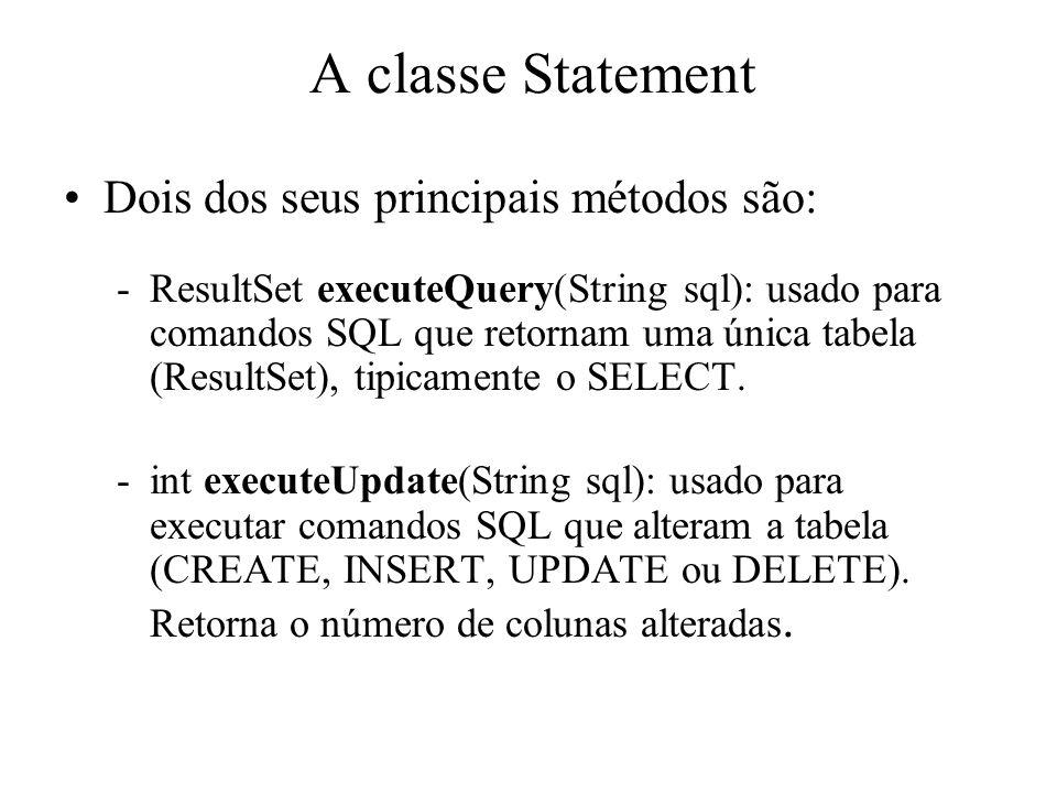 A classe Statement Dois dos seus principais métodos são: