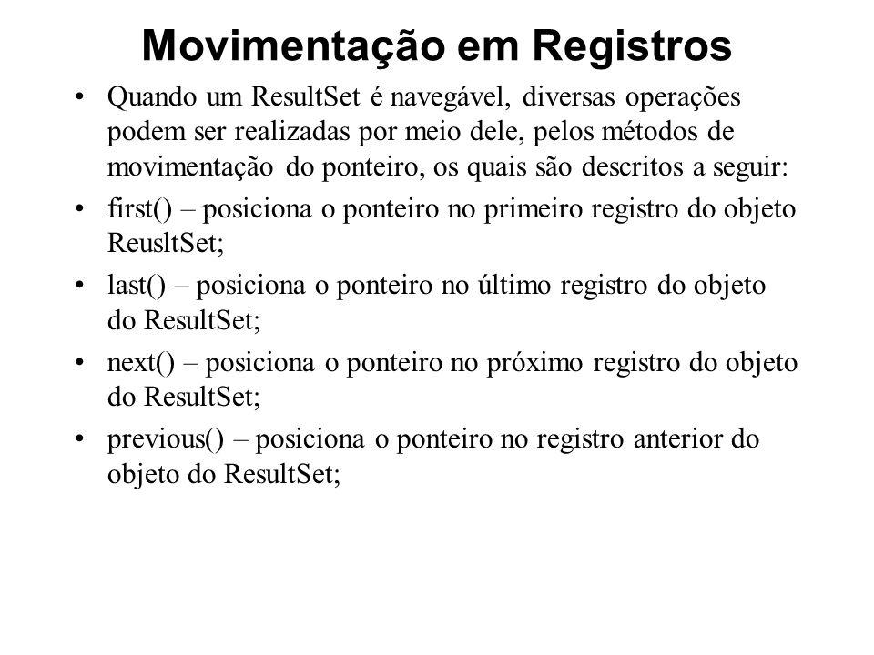 Movimentação em Registros