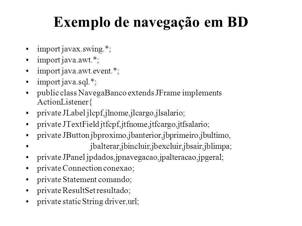 Exemplo de navegação em BD