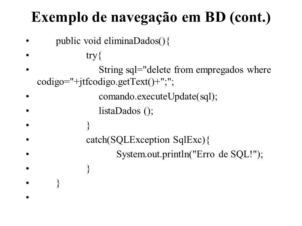 Exemplo de navegação em BD (cont.)