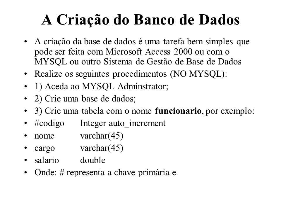 A Criação do Banco de Dados