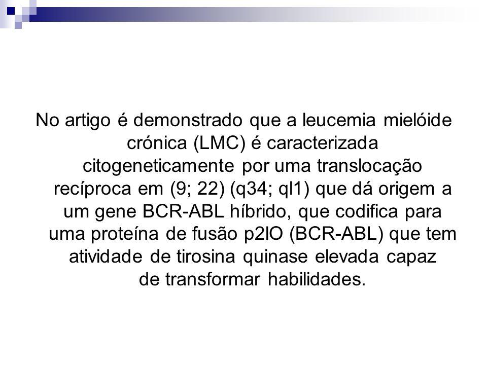 No artigo é demonstrado que a leucemia mielóide crónica (LMC) é caracterizada citogeneticamente por uma translocação recíproca em (9; 22) (q34; ql1) que dá origem a um gene BCR-ABL híbrido, que codifica para uma proteína de fusão p2lO (BCR-ABL) que tem atividade de tirosina quinase elevada capaz de transformar habilidades.