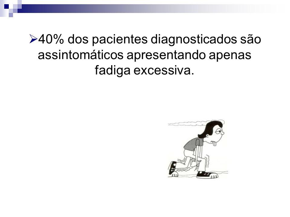 40% dos pacientes diagnosticados são assintomáticos apresentando apenas fadiga excessiva.
