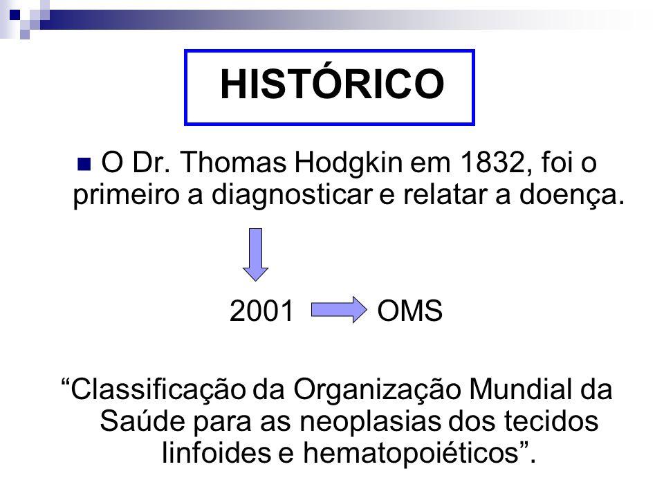 HISTÓRICO O Dr. Thomas Hodgkin em 1832, foi o primeiro a diagnosticar e relatar a doença. 2001 OMS.