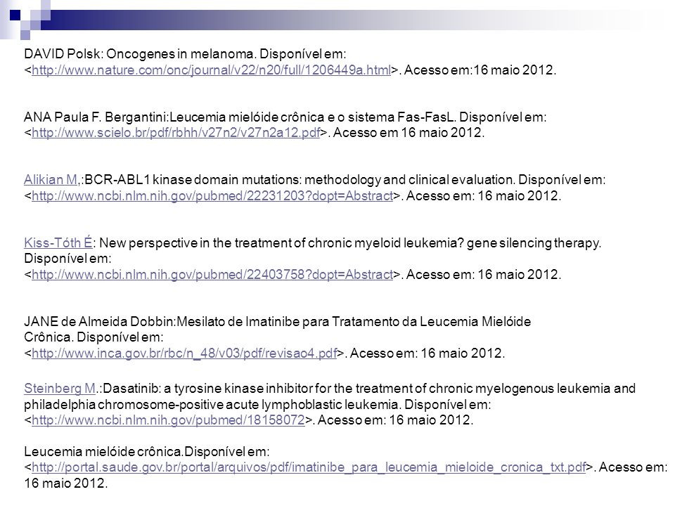 DAVID Polsk: Oncogenes in melanoma. Disponível em: