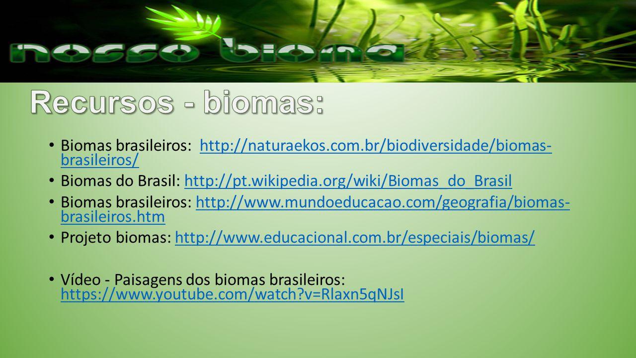 Recursos - biomas: Biomas brasileiros: http://naturaekos.com.br/biodiversidade/biomas- brasileiros/