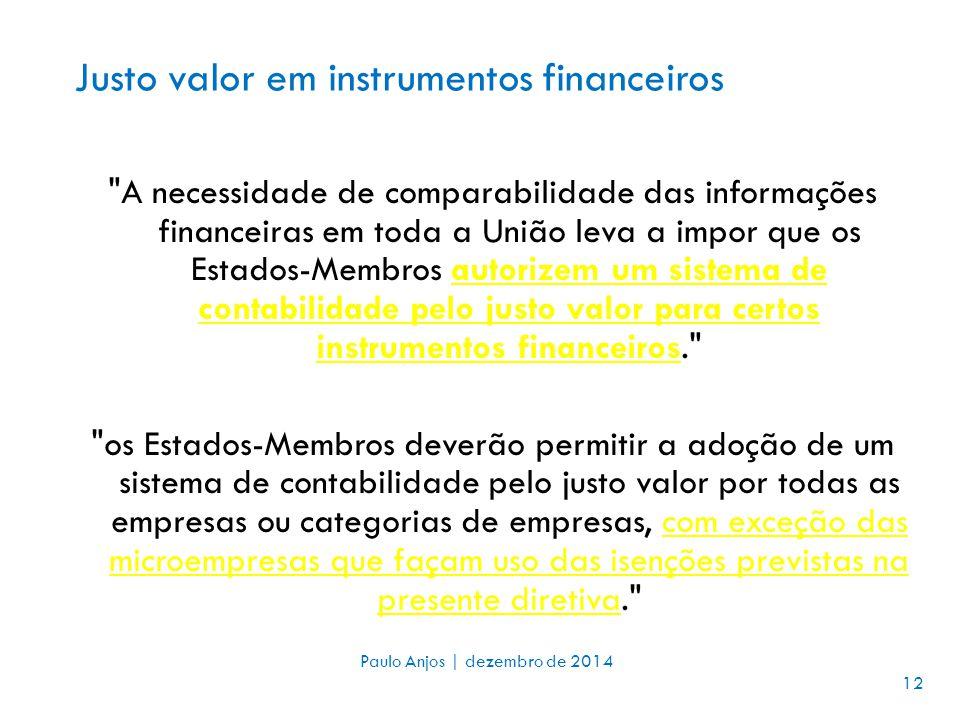 Justo valor em instrumentos financeiros