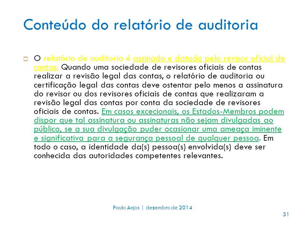 Conteúdo do relatório de auditoria