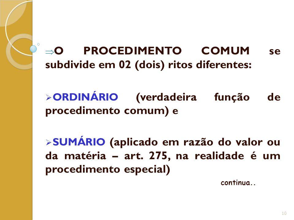 O PROCEDIMENTO COMUM se subdivide em 02 (dois) ritos diferentes:
