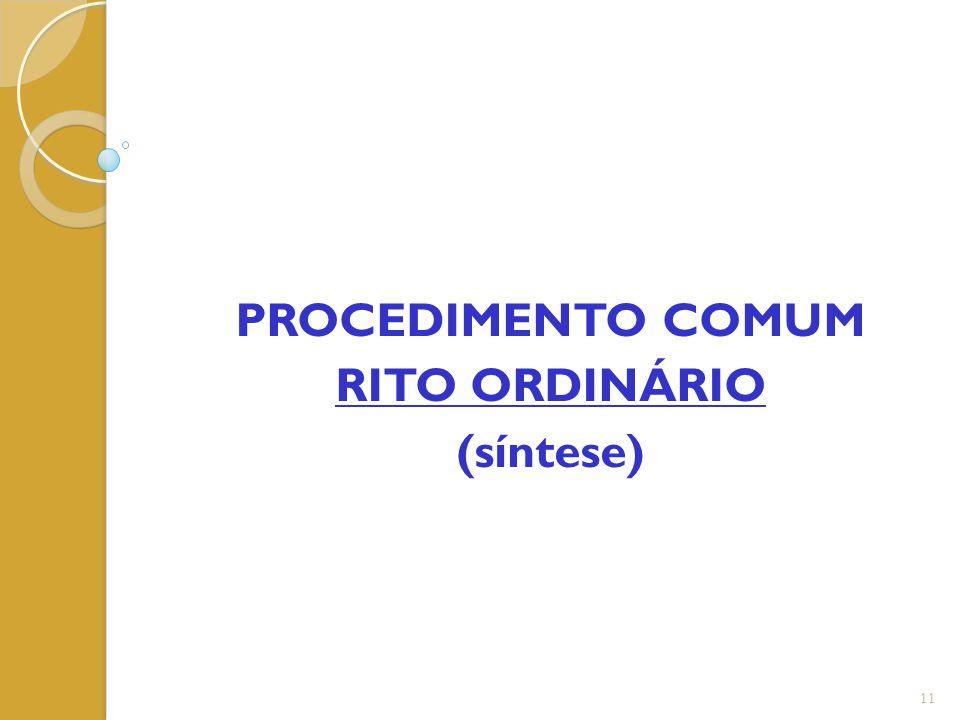 PROCEDIMENTO COMUM RITO ORDINÁRIO (síntese)