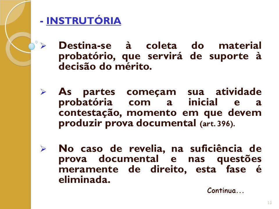 - INSTRUTÓRIA Destina-se à coleta do material probatório, que servirá de suporte à decisão do mérito.