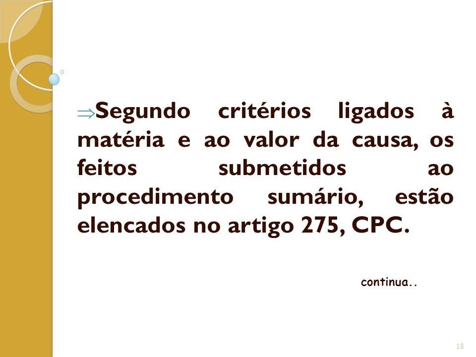 Segundo critérios ligados à matéria e ao valor da causa, os feitos submetidos ao procedimento sumário, estão elencados no artigo 275, CPC.