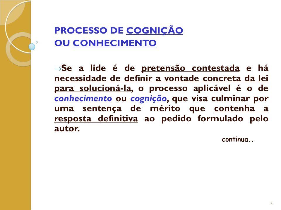 PROCESSO DE COGNIÇÃO OU CONHECIMENTO
