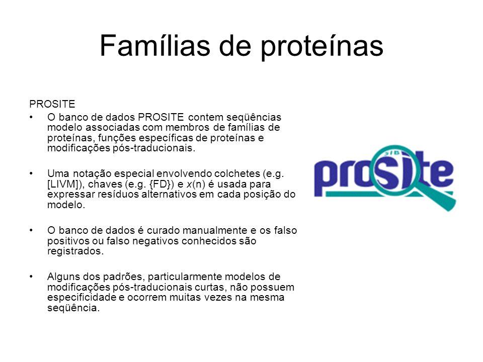 Famílias de proteínas PROSITE
