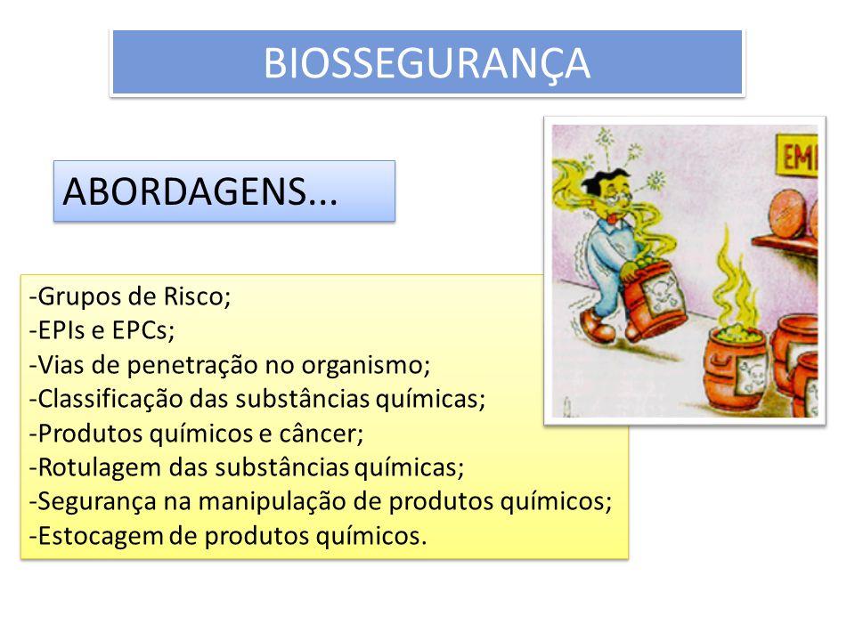 BIOSSEGURANÇA ABORDAGENS... Grupos de Risco; EPIs e EPCs;