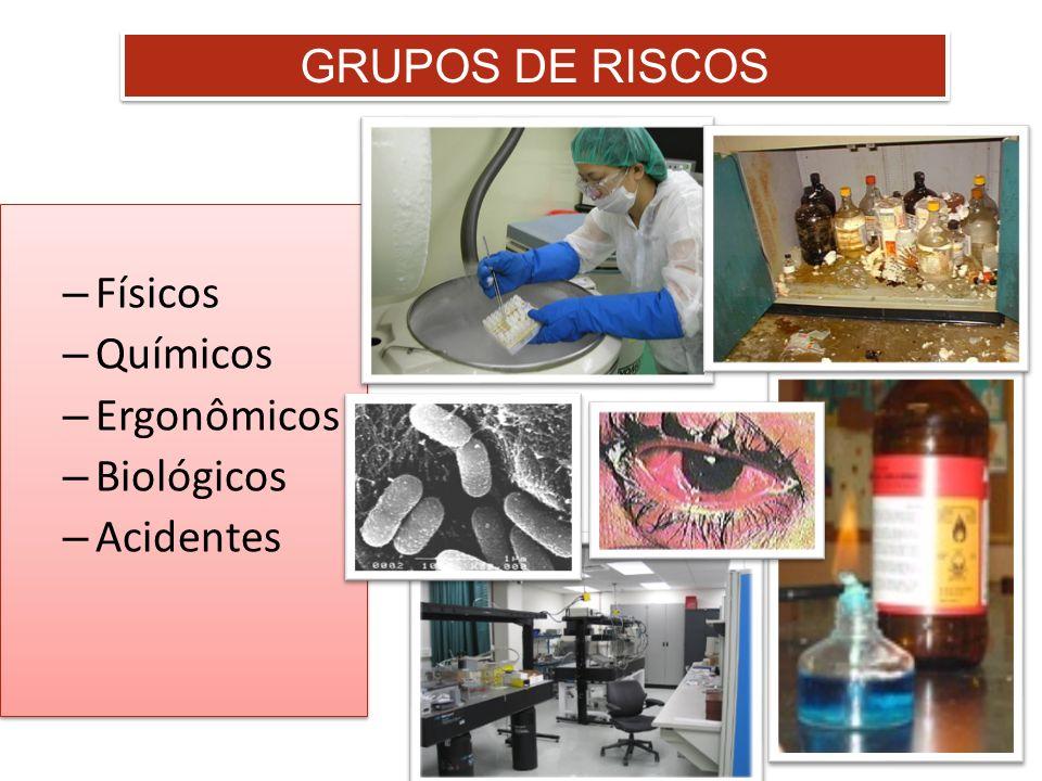 GRUPOS DE RISCOS Físicos Químicos Ergonômicos Biológicos Acidentes