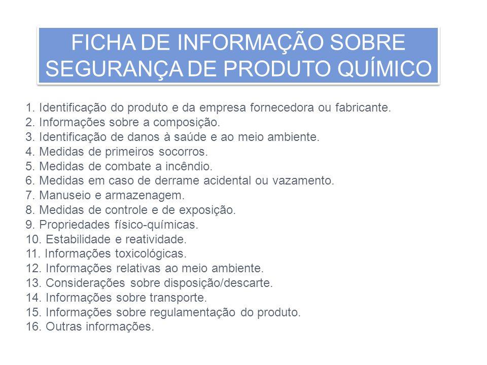 FICHA DE INFORMAÇÃO SOBRE SEGURANÇA DE PRODUTO QUÍMICO