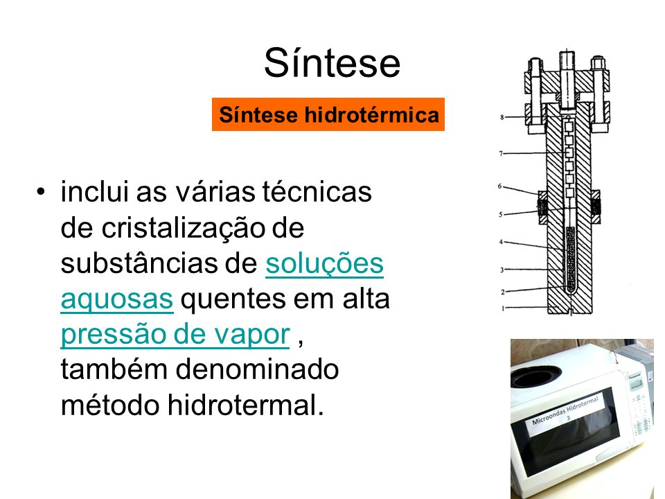 Síntese Síntese hidrotérmica.