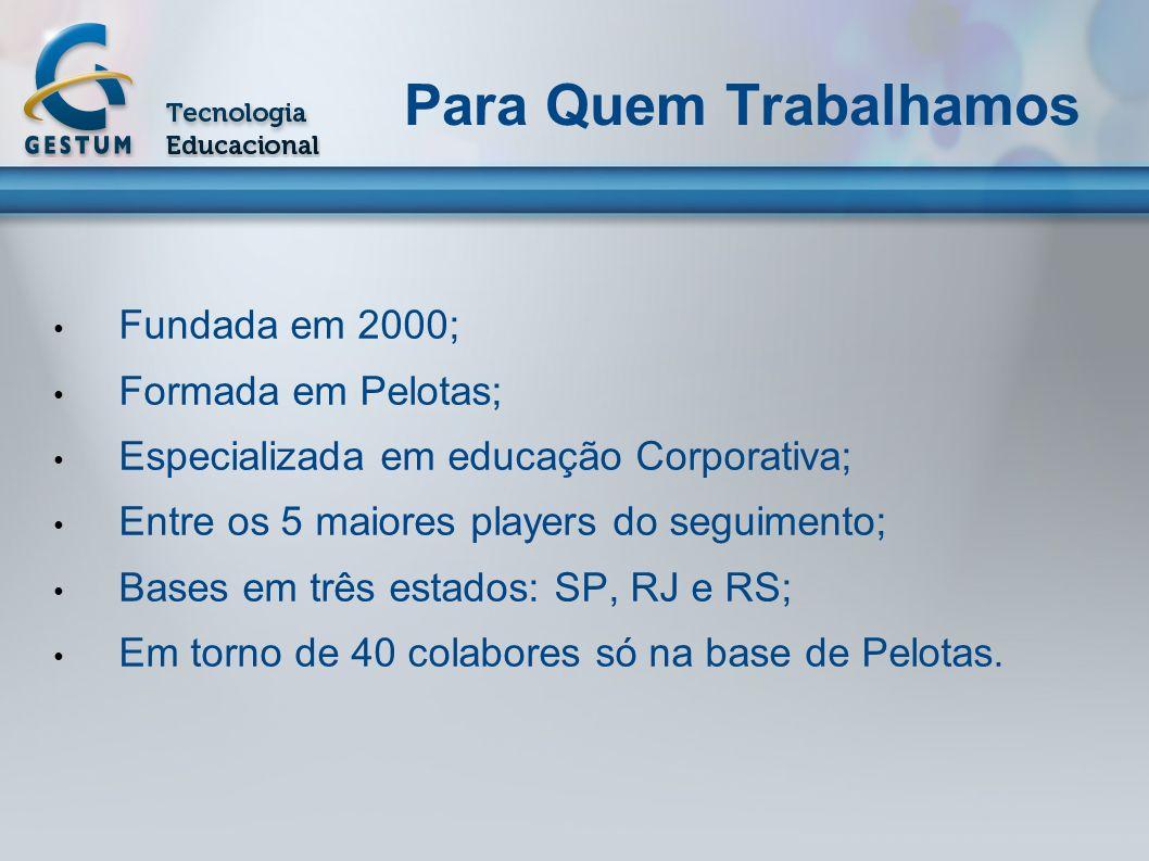 Para Quem Trabalhamos Fundada em 2000; Formada em Pelotas;