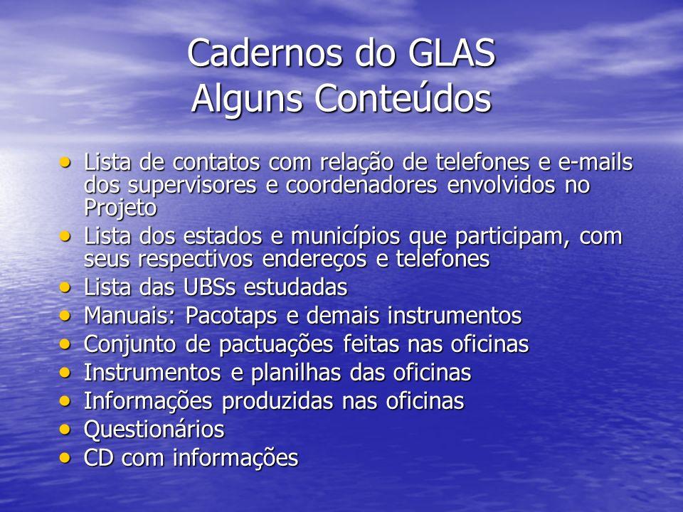 Cadernos do GLAS Alguns Conteúdos