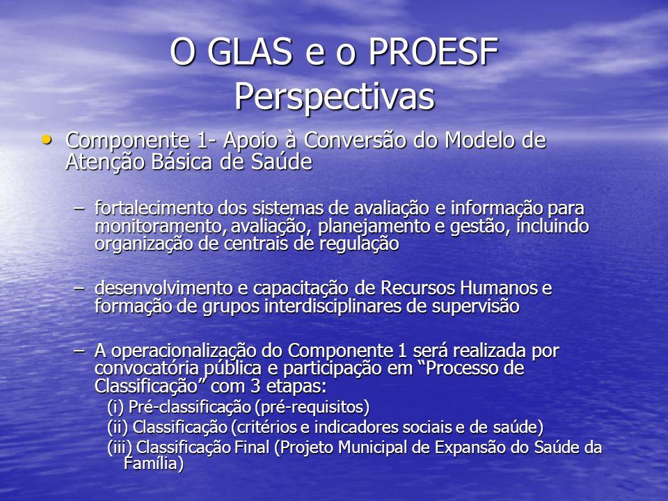 O GLAS e o PROESF Perspectivas