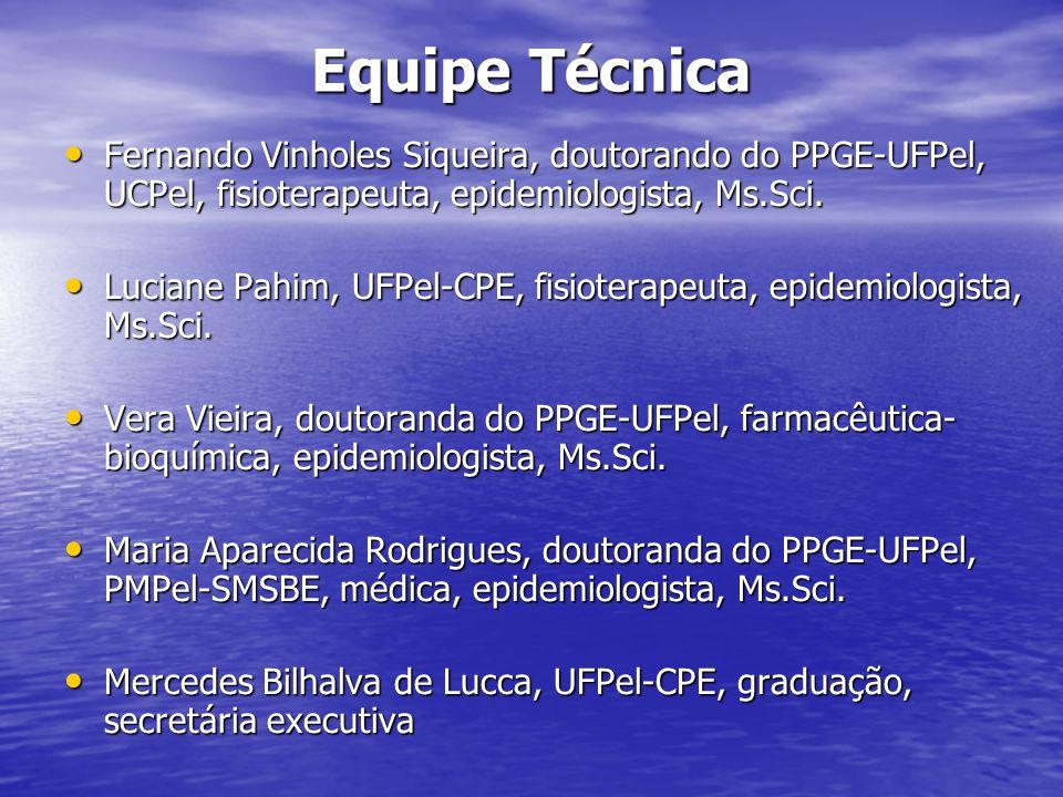 Equipe TécnicaFernando Vinholes Siqueira, doutorando do PPGE-UFPel, UCPel, fisioterapeuta, epidemiologista, Ms.Sci.