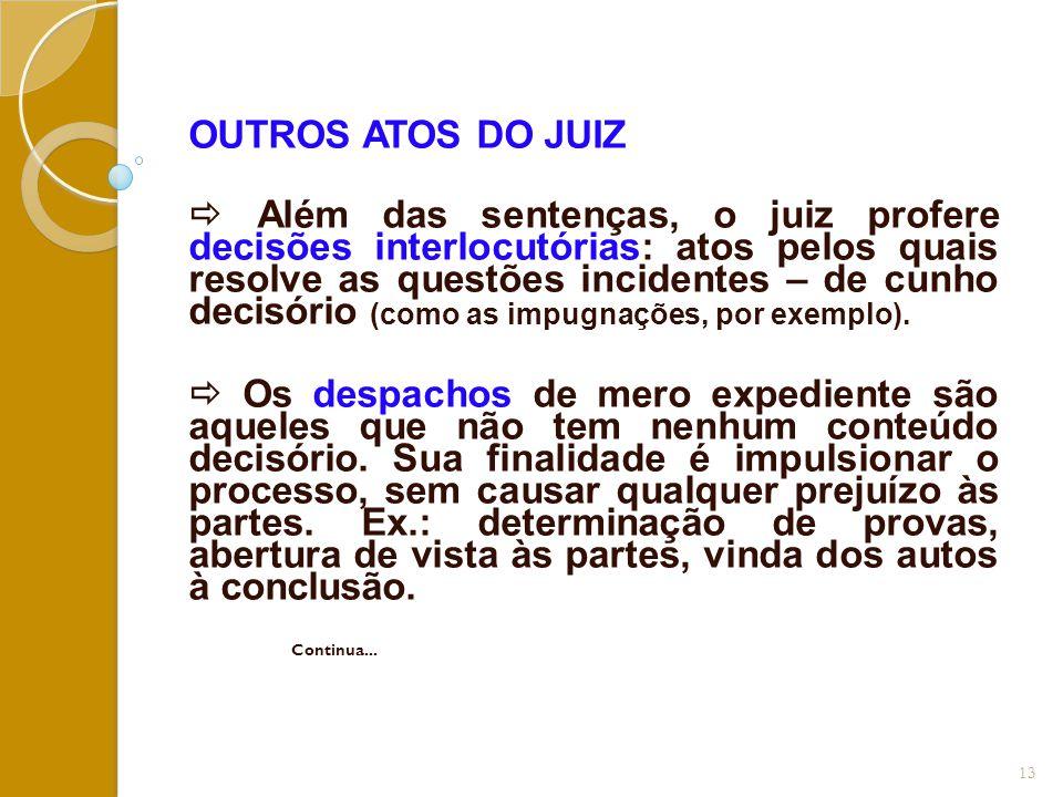 OUTROS ATOS DO JUIZ