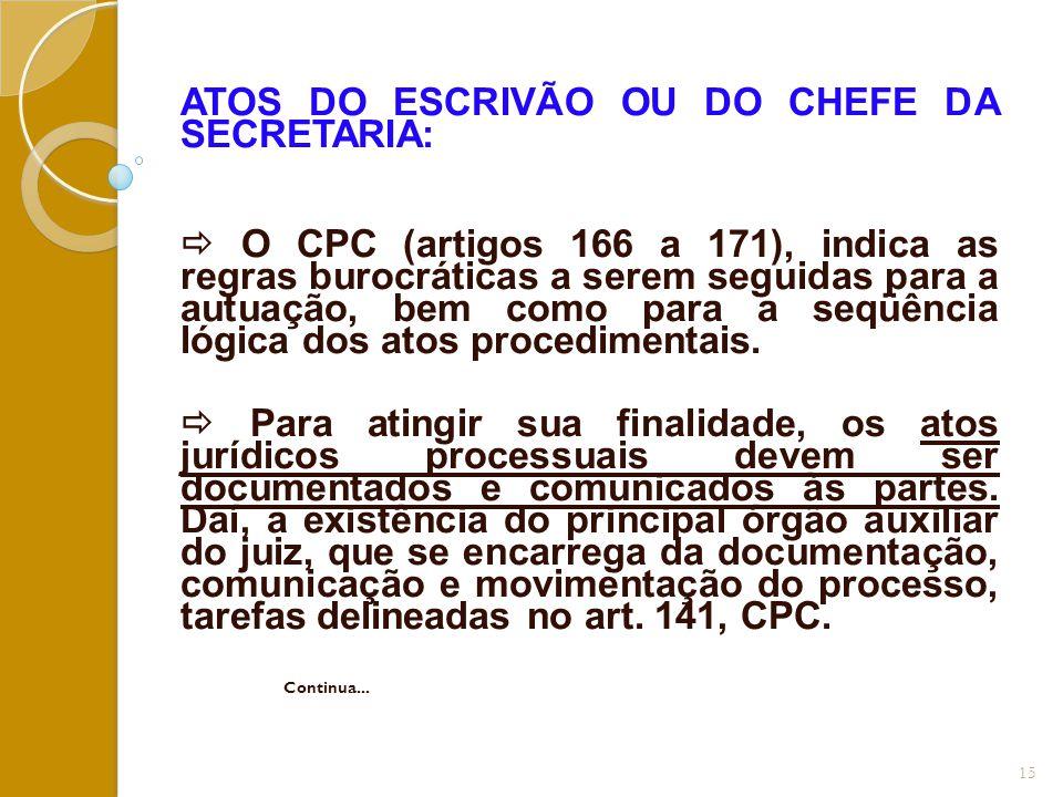 ATOS DO ESCRIVÃO OU DO CHEFE DA SECRETARIA:
